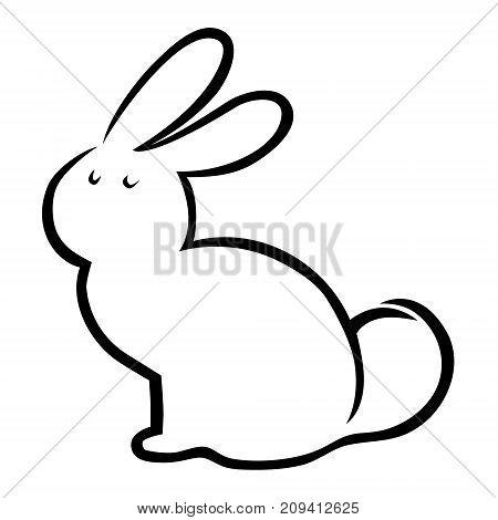 Cute cartoon rabbit silhouette on white background