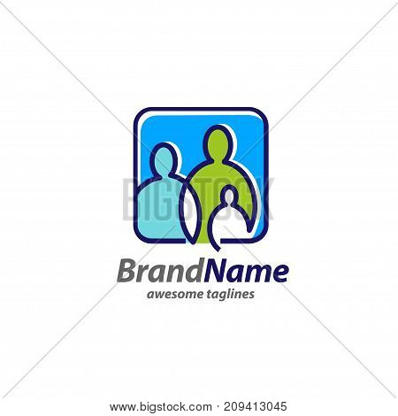 creative simple Family logo concept, simple family icon logo, simple figures dad, mom and child used for family practice, people logo, team, group, friendship, Vector Illustration