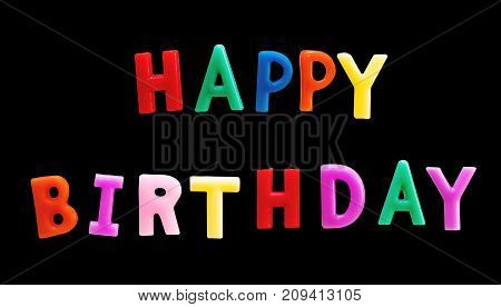 Colorful Happy Birthday Candles, isolated on black background with clipping path