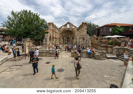 NESEBAR BULGARIA - AUGUST 21 2017: The Church of Saint Sofia (built 5th-6th century) in the UNESCO World Heritage town of Nesebar.
