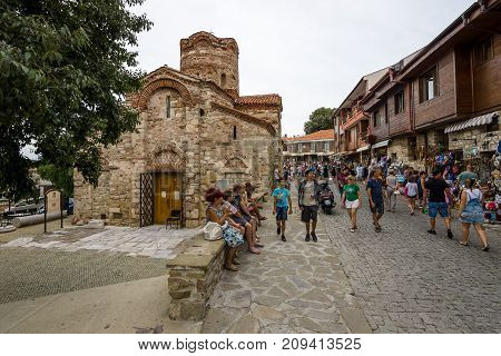 NESEBAR BULGARIA - AUGUST 21 2017: Church of Saint John the Baptist in the old town. Nesebar is an ancient city and one of the major seaside resorts on the Bulgarian Black Sea Coast.