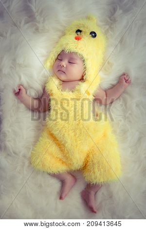 Baby portrait :Happy sleeping Asian baby wearing yellow rooster for Chinese sign of zodiac year dress suit sleep on furry soft fabric with sweet daydream.