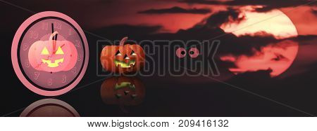 Midnight Halloween background with copy space and red blur spooky sky.