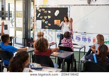 Female teacher gesturing to elementary school class