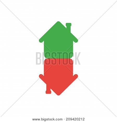 Flat design style vector illustration concept of green and red color two houses symbol icon in an arrow shape moving or pointing up and down on white background.