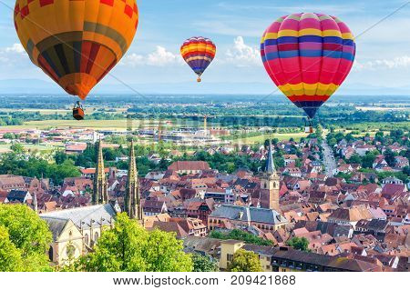 Aerial view from the village of Obernai Alsace France