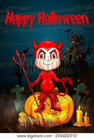 Happy Halloween hanunted background with kids in scary costume. Vector illustration
