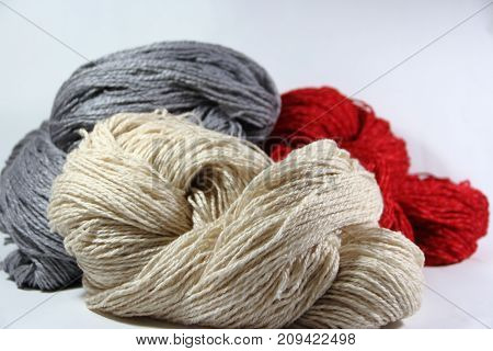 yarn and wool in skeins and yarns