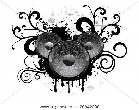 Resumen de antecedentes con vinilo Grunge y las ilustraciones