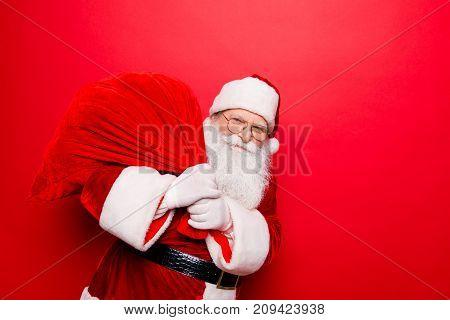 Holly Jolly X Mas Festive Noel Miracles And Magic Time! Funny Santa In Headwear, Costume, Black Belt