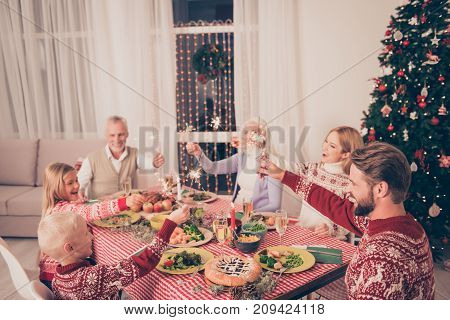 X Mas Miracle, Holy Spirit! Six Cheerful Relatives Sit And Celebrate Christmastime With Setted Festi