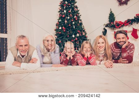 Group Of Six Relatives Bonding Hug Embrace On Carpet On Wooden Floor, Married Couples, Siblings, Gra