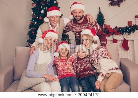 Group Of Six Cheerful Relatives Bonding Hug Embrace On Couch, Married Couples, Excited Siblings, Gra