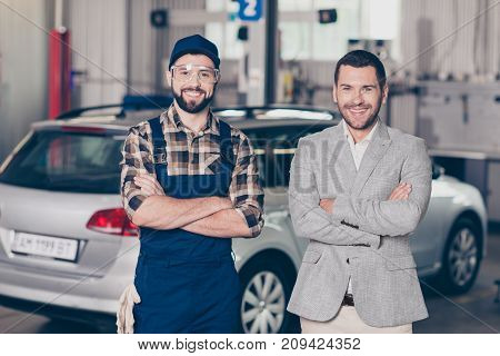 Two Partners Attractive Guys, Cheerful Specialist Repairman In Blue Overall, Protective Spectacles E