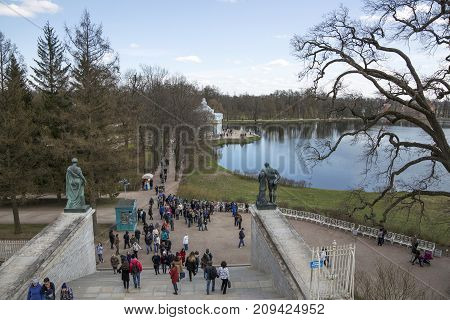 SAINT PETERSBURG, RUSSIA, MAY 07, 2017:View of the Great Pond of Catherine Park from the Cameron Gallery in Pushkin St. Petersburg