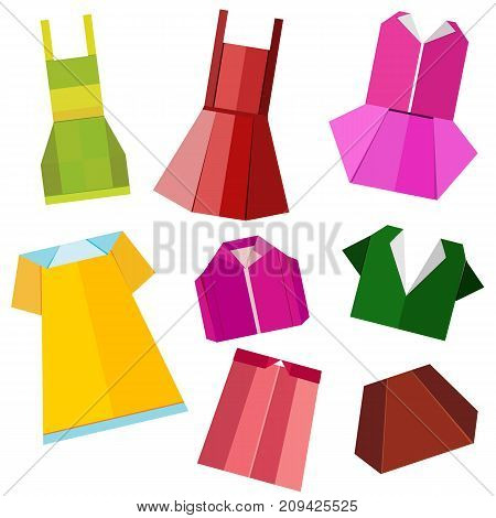 colorful origami clothes vector on white background
