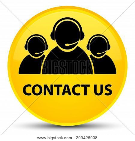 Contact Us (customer Care Team Icon) Special Yellow Round Button