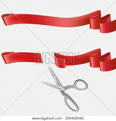 Whole and cut with scissors on two pieces red silk or satin ribbon realistic vector illustration isolated on white background. Grand opening, start-up beginning, event celebrating design element