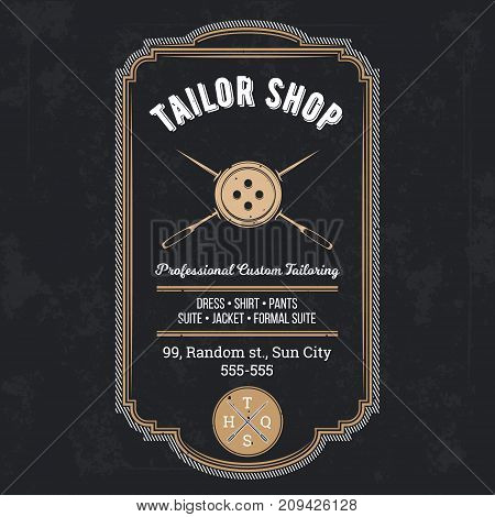 Tailor shop emblem or signage with logo and business information vector illustration in retro style. Custom, individual sewing handiwork small business brand sticker, label or badge design template poster