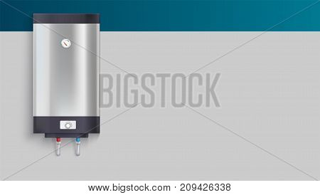 Template with tank for water heating, advertisement on horizontal long backdrop, 3D illustration. Realistic icon of tank for heating of water. The example of registration of the advertising message