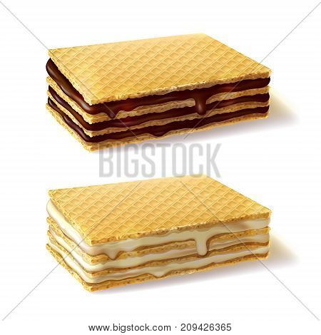 Waffle cookies with dripping chocolate and cream filling realistic vector illustration isolated on white background. Classic confectionery and pastry product, sweet snack with additives on dessert