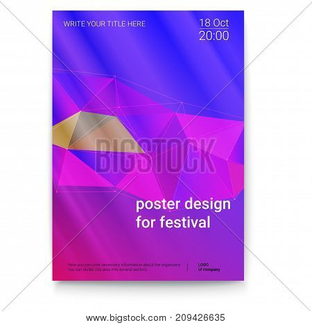 Vector template of poster, design layout for brochure, banner, flyer. Poster design with abstract triangles and cybernetic dots, lines plexus. Mock-up of event with text template, A4 size