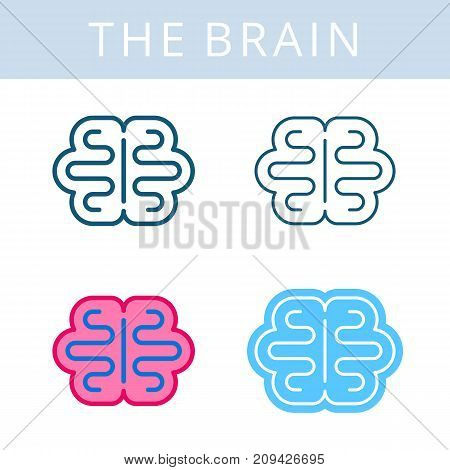 The internals outline icon set. Brain, cerebrum, mind symbols. Viscera and inside organs vector linear pictograms. Thin line medical and anatomy infographic elements for web, presentation, networks.