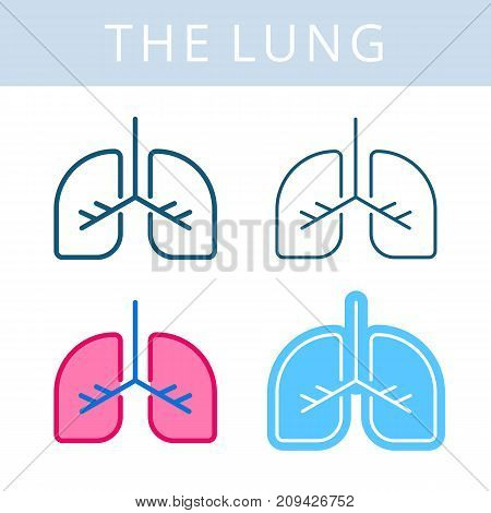 The internals outline icon set. Lung, respiratory system symbols. Viscera and inside organs vector linear pictograms. Thin line medical and anatomy infographic elements for web, presentation, network.