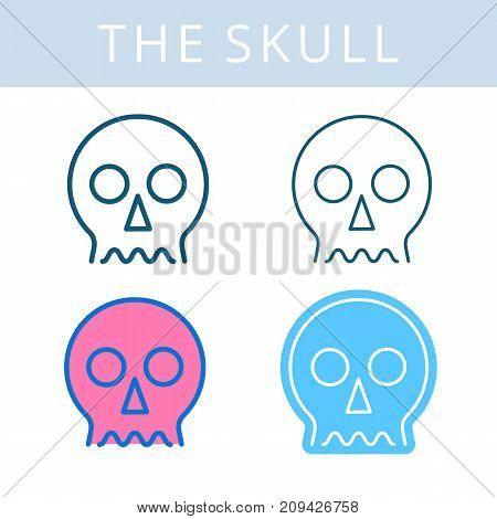 The internals outline icon set. Skull and cranium symbols. Viscera and inside organs vector linear pictograms. Thin line medical and anatomy infographic elements for web, presentation, networks.