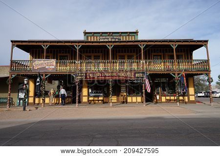December 9, 2015 Tombstone Arizona USA: The Silver Nugget Bed and Breakfast located in the historic Allen St. in Tombstone Arizona. The structure was built in the late 1800's.