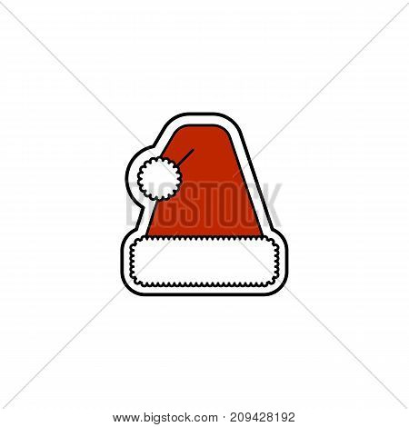 Vector illustration of a Christmas hat. Christmas and New Year theme.