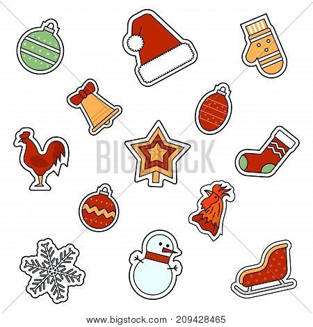 Christmas and New Year celebration attributes vector icons set.