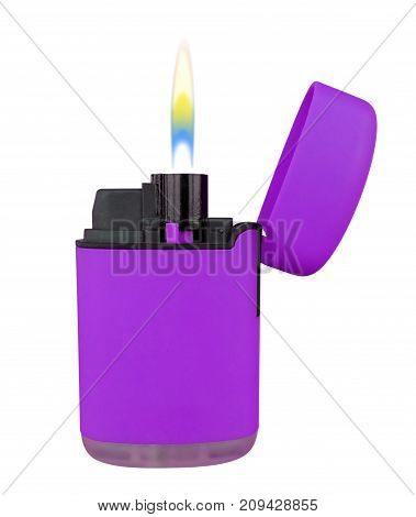 Plastic Gas Lighter With Flame - Violet