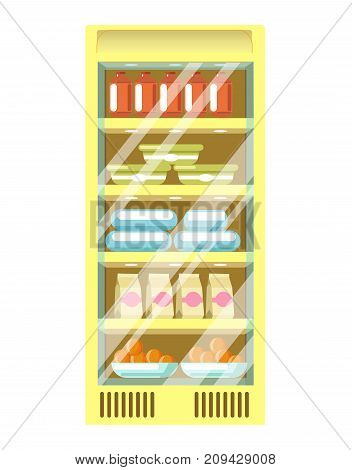 Refrigerator from supermarket in green metal corpus with glass transparent door, and plastic containers and cardboard packs inside isolated cartoon flat vector illustration on white background.