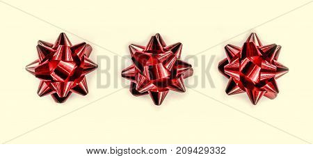 Red Bow. Christmas Design. New Year's Holiday