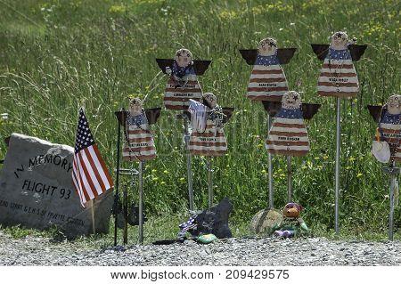 SHANKSVILLE, PENNSYLVANIA - CIRCA JUNE 2005 - Temporary memorial to the lives lost on Flight 93 September 11, 2001