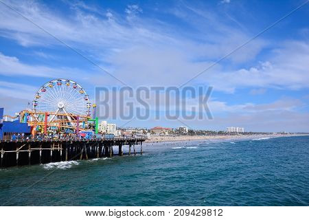 Santa Monica Pier  In Los Angeles.
