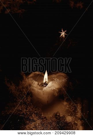 Close view of romantic Christmas candle .