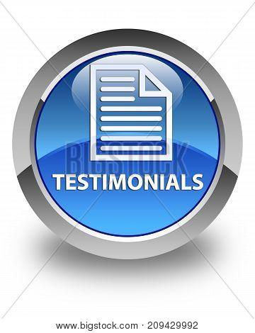 Testimonials (page Icon) Glossy Blue Round Button