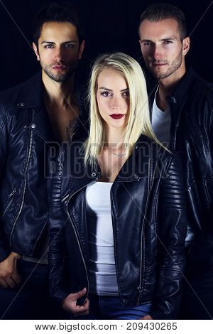 Book cover for vampire novel . three attractive vampires