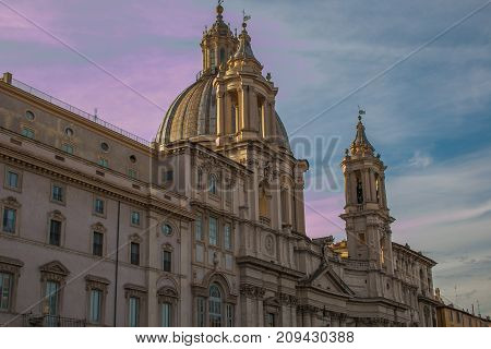 Sant'Agnese in Agone church in Piazza Navona at sunset