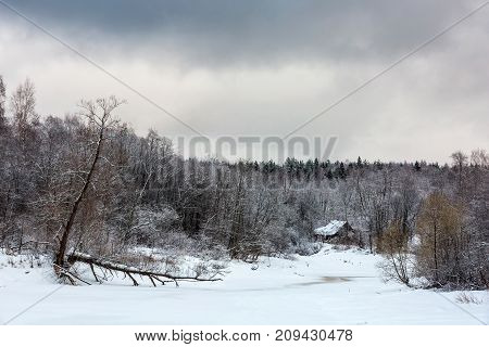 Winter landscape a broken tree near the river in cloudy weather. House on the shore of a frozen river, Russia.