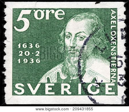 LUGA RUSSIA - AUGUST 20 2017: A stamp printed by SWEDEN shows image portrait of famous Swedish statesman Count Axel Oxenstierna circa 1936