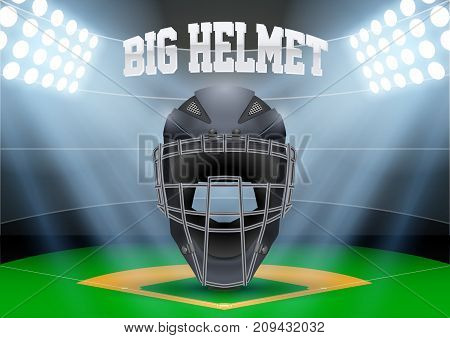 Poster Template of Baseball with Catcher Helmet. Cup and Tournament Advertising. Softball Sport Event Announcement. Vector Illustration.