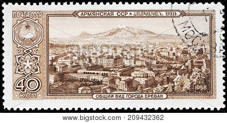 LUGA RUSSIA - AUGUST 20 2017: A stamp printed by SOVIET UNION (RUSSIA) shows beautiful view of Yerevan skyline with Mount Ararat capital of Armenia circa 1958