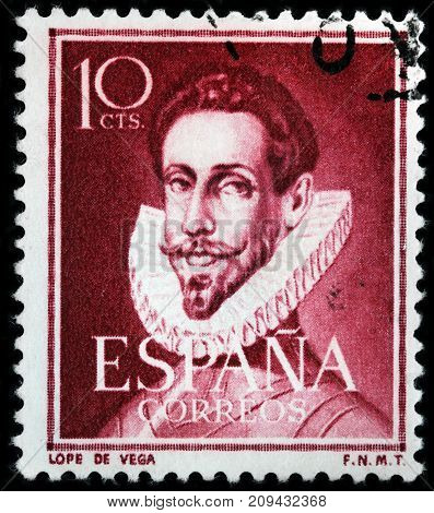 LUGA RUSSIA - AUGUST 20 2017: A stamp printed by SPAIN shows image portrait of Lope de Vega famous Spanish playwright poet novelist and marine circa 1951