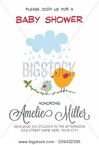 delicate customizable baby shower card template with birds vector format