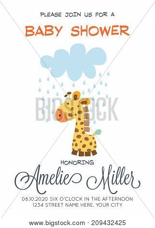 delicate customizable baby shower card template with giraffe toy vector format