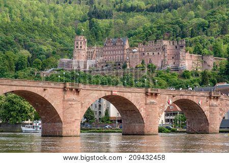 Beautiful view of Heidelberg castle and Carl-Theodor bridge Heidelberg Germany.