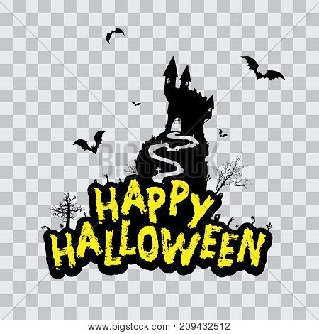 Halloween Vector Design with Happy Halloween Lettering. Vector illustration